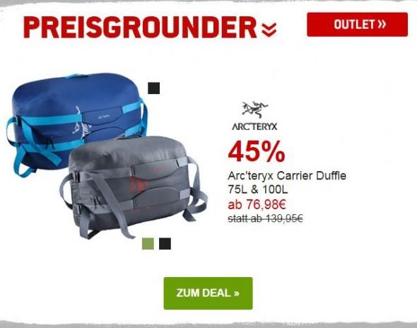 Arcteryx Carrier Duffle um 60% reduziert