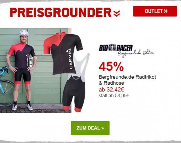 Bergfreunde.de Radtrikot & Radhose um 45% reduziert