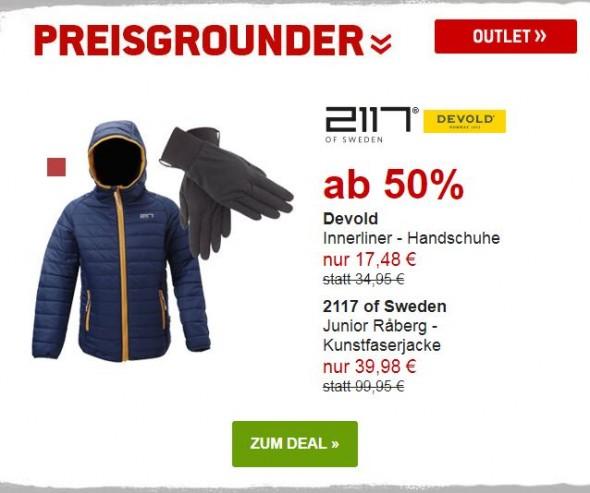 Devold - Innerliner Handschuhe & 2117 of Sweden - Junior Raberg Kunstfaserjacke um mind.50& reduziert