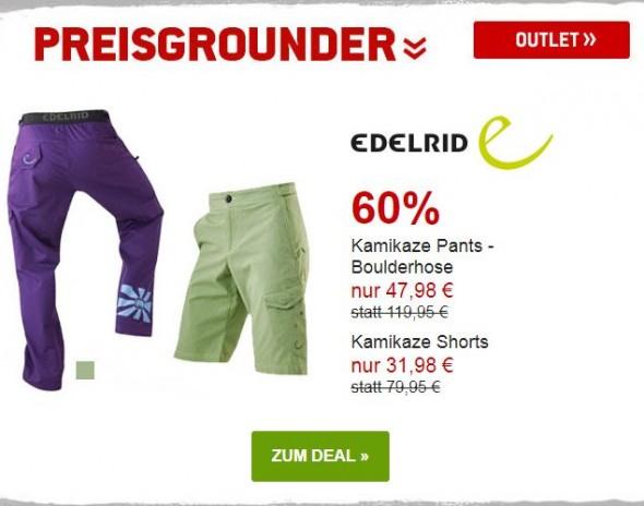 Edelrid Kamikaze Boulderhose und Shorts um 60% reduziert