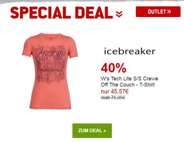 Icebreaker Ws Tech Lite S/S Crewe Off The Couch - T-Shirt um 40% reduziert