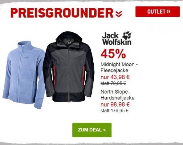 Jack Wolfskin Fleece- und Hardshelljacke um 45% reduziert