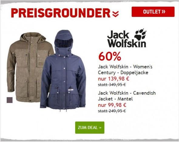 Jack Wolfskin Jacken für Männer und Frauen um 60% reduziert