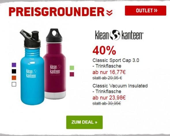 Klean Kanteen Trinkflaschen umd 40% reduziert