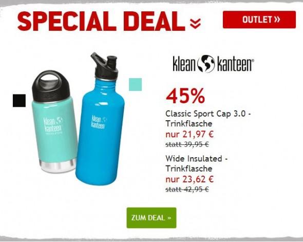 Klean Kanteen Trinkflaschen um 45% reduziert