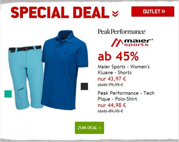 Maier Sports Shorts & Peak Performance Shirt ab 45% reduziert