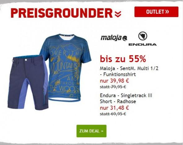 Maloja Funktionshirt & Endura Shorts bis zu 55% reduziert
