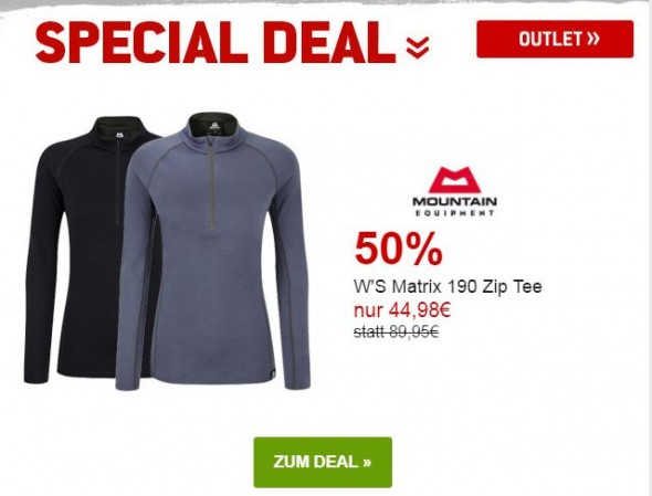 Mountain Equipment Ws Matrix 190 Zip Tee um 50% reduziert