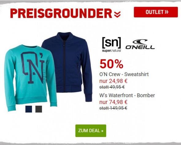 SuperNatural Bomberjacke und O'Neill Sweatshirt um 50% reduziert