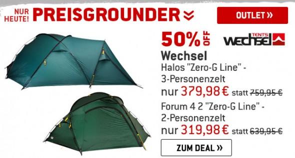 Wechsel Zelte um 50% reduziert