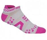 Compressport Lauf Socken Racing V2 Run Lo Unisex White/pink