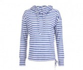 Hoody Funnel Damen Printed fresh white/fine stripe print