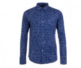 Longsleeve Waterfront Button Herren stone blue/sketch stripe print