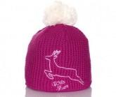 Mütze Haube Unisex pink, Bommel weiß