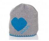 Mütze Herz Unisex grau/türkis