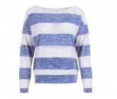 Pullover Waterfront Slash Neck Damen fresh white/bold stripe print