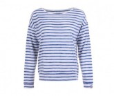 Pullover Waterfront Slash Neck Damen fresh white/fine stripe print