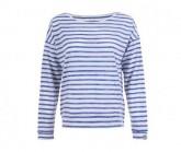 Pullover Waterfront Slash Neck Damen fresh white/fine stripe print