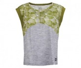 T-Shirt Active Printed Damen trans leaves print/ash melange