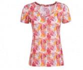 T-Shirt Base 140 V-Neck Printed Damen fresh white/leaves camu print VAR3